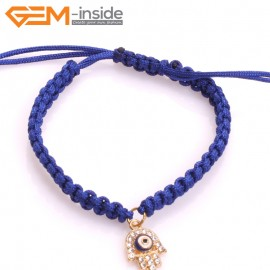 "EvilEye0012  Turkey Evil Eye Bracelet Handmade Blue Macrame Adjustable Bracelet 7"" Fashion Jewelry Bracelets for Women"