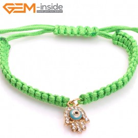 "EvilEye0014  Turkey Evil Eye Bracelet Handmade Green  Macrame Adjustable Bracelet 7"" Fashion Jewelry Bracelets for Women"