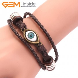 "EvilEye0018 Turkey Evil Eye Bracelet Handmade Leather Adjustable Bracelet 7"" Fashion Jewelry Bracelets for Women"