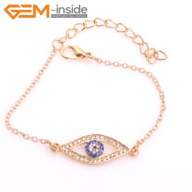 "EvilEye0020 Turkey Evil Eye Bracelet Handmade Crystal Adjustable Bracelet 7"" Fashion Jewelry Bracelets for Women"