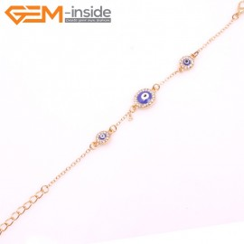 "EvilEye0022 Turkey Evil Eye Bracelet Handmade Crystal Adjustable Bracelet 7"" Fashion Jewelry Bracelets for Women"