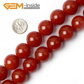 "G0008 18mm Free Shipping Round Smooth Gemstone Red Agate Beads Strand 15"" Selectable Size Natural Stone Beads for Jewelry Making Wholesale"
