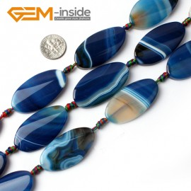 "G0056 22x40mm Blue Oval Gemstone Banded Agate Beads DIY Jewelry Crafts Making Loose Beads15"" Natural Stone Beads for Jewelry Making Wholesale"