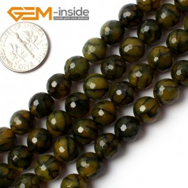 "G0078 8mm Round Faceted Yellow Crackle Agate Beads Strand 15"" Free Shipping Gbeads Natural Stone Beads for Jewelry Making Wholesale`"