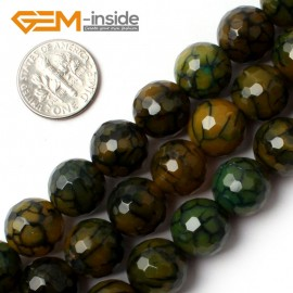 "G0080 12mm Round Faceted Yellow Crackle Agate Beads Strand 15"" Free Shipping Gbeads Natural Stone Beads for Jewelry Making Wholesale`"