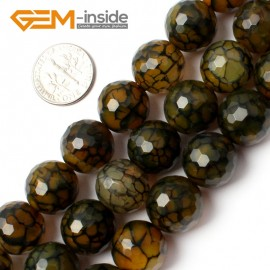 "G0082 14mm Round Faceted Yellow Crackle Agate Beads Strand 15"" Free Shipping Gbeads Natural Stone Beads for Jewelry Making Wholesale`"