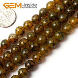 """G0084 8mm Round Gemstone Crackle Agate Beads Strand 15"""" Free Shipping Natural Stone Beads for Jewelry Making Wholesale`"""
