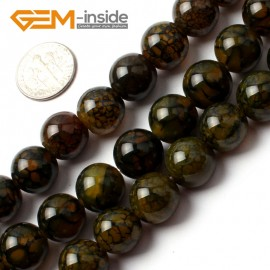 """G0086 12mm Round Gemstone Crackle Agate Beads Strand 15"""" Free Shipping Natural Stone Beads for Jewelry Making Wholesale`"""