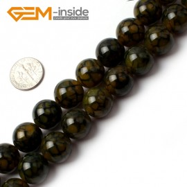 """G0087 14mm Round Gemstone Crackle Agate Beads Strand 15"""" Free Shipping Natural Stone Beads for Jewelry Making Wholesale`"""