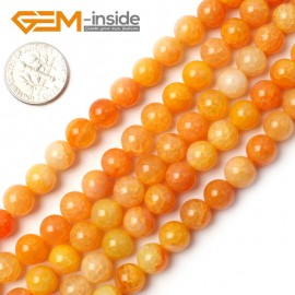 "G0106 8mm Round Yellow Crackle Agate Beads Strand 15"" Free Shipping Natural Stone Beads for Jewelry Making Wholesale`"