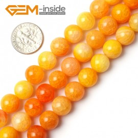 "G0107 10mm Round Yellow Crackle Agate Beads Strand 15"" Free Shipping Natural Stone Beads for Jewelry Making Wholesale`"