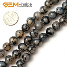"""G0115 10mm Round Crackle Black Agate Gemstone Jewelry Making Beads Strand 15"""" Free Shipping Natural Stone Beads for Jewelry Making Wholesale`"""