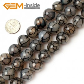 """G0117 14mm Round Crackle Black Agate Gemstone Jewelry Making Beads Strand 15"""" Free Shipping Natural Stone Beads for Jewelry Making Wholesale`"""