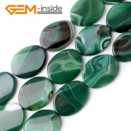 """G0123 30x40mm  Twist Gemstone Green Banded Agate DIY Jewelry Crafts Making Loose Bead 15"""" Natural Stone Beads for Jewelry Making Wholesale"""