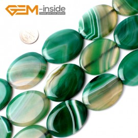 "G0127 30x40mm Oval Twist Gemstone Green Banded Agate DIY Jewelry Crafts Making Loose Bead 15"" Natural Stone Beads for Jewelry Making Wholesale"