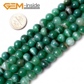 "G0138 8mm Round Banded Green Agate Gemstone Jewellery  Making  Beads15""  Free Shipping Natural Stone Beads for Jewelry Making Wholesale"