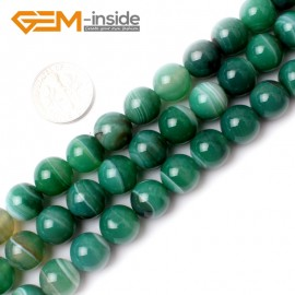 """G0139 10mm Round Banded Green Agate Gemstone Jewellery  Making  Beads15""""  Free Shipping Natural Stone Beads for Jewelry Making Wholesale"""