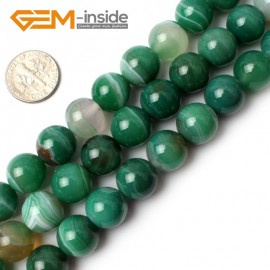 "G0141 14mm Round Banded Green Agate Gemstone Jewellery  Making  Beads15""  Free Shipping Natural Stone Beads for Jewelry Making Wholesale"