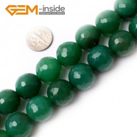 """G0143 16mm Round Faceted Green Agate Beads Jewelry Making Gemstone Loose Beads Strand 15"""" Natural Stone Beads for Jewelry Making Wholesale"""