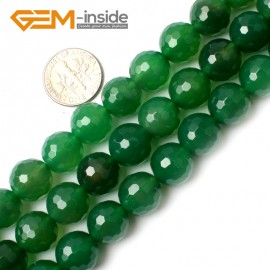 "G0145 12mm Round Faceted Green Agate Beads Jewelry Making Gemstone Loose Beads Strand 15"" Natural Stone Beads for Jewelry Making Wholesale"