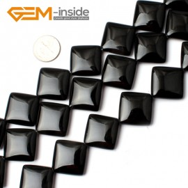 "G0284 20mm Diagonal Square Black Agate Beads Strands 15"" Jewelery Making Gemstone Onyx Loose Beads Natural Stone Beads for Jewelry Making Wholesale"