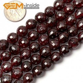 "G0398 9mm Free Shipping Round Faceted Garnet Beads Jewelry Making Loose Beads 15"" 4-12mm Natural Stone Beads for Jewelry Making Wholesale"