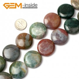 """G0542 25mm Natural Coin Indian Agate Loose Beads Strand 15"""" Jewelry Making Gemstone Beads Natural Stone Beads for Jewelry Making Wholesale"""