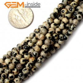 "G0571 4mm Dalmatian Jasper Stone Spacer Beads Strand 15"" Natural Stone Beads for Jewelry Making Wholesale"