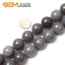 "G0586 18mm Natural Round Gray Agate Beads 15"" 6-20mm Jewely Making Gemstone Loose Beads Natural Stone Beads for Jewelry Making Wholesale"