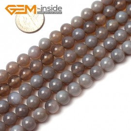 """G0591 8mm Natural Round Gray Agate Beads 15"""" 6-20mm Jewely Making Gemstone Loose Beads Natural Stone Beads for Jewelry Making Wholesale"""