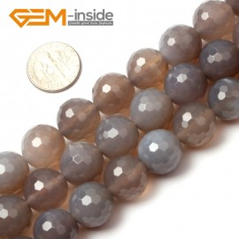 "G0593 14mm Round Faceted Natural Gray Agate Gemstone Loose Beads Strands 15"" 10-14mm Pick Natural Stone Beads for Jewelry Making Wholesale"