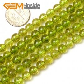 "G0708 6mm Round Gemstone Green Dyed Peridot Quartz Jewelry Making Loose Beads Strand 15"" Natural Stone Beads for Jewelry Making Wholesale"