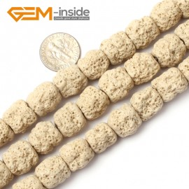"G0725 Cream White Free Shipping Cloumn Lava Rock Beads Jewelry Making Beads Strand 15"" 12x14mm Natural Stone Beads for Jewelry Making Wholesale"