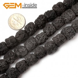 "G0726 Black Free Shipping Cloumn Lava Rock Beads Jewelry Making Beads Strand 15"" 12x14mm Natural Stone Beads for Jewelry Making Wholesale"
