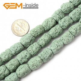 """G0727 Green Free Shipping Cloumn Lava Rock Beads Jewelry Making Beads Strand 15"""" 12x14mm Natural Stone Beads for Jewelry Making Wholesale"""