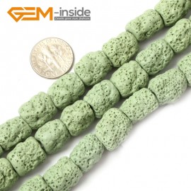"G0729 Green Free Shipping Cloumn Lava Rock Beads Jewelry Making Beads Strand 15"" 12x14mm Natural Stone Beads for Jewelry Making Wholesale"