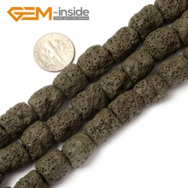 "G0732 Dark Green Free Shipping Cloumn Lava Rock Beads Jewelry Making Beads Strand 15"" 12x14mm Natural Stone Beads for Jewelry Making Wholesale"