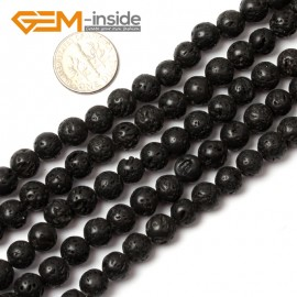 "G0772 8mm Round Black Lava Rock Beads DIY Jewelry Making Gemstone Beads 15"" Gbeads Natural Stone Beads for Jewelry Making Wholesale"