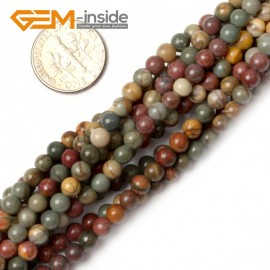 "G0824 4mm Natural Round Picasso Jasper Beads Jewelry Making Beads 15"" 4-16mm Pick  Size Natural Stone Beads for Jewelry Making Wholesale`"