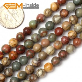 "G0825 6mm Natural Round Picasso Jasper Beads Jewelry Making Beads 15"" 4-16mm Pick  Size Natural Stone Beads for Jewelry Making Wholesale`"