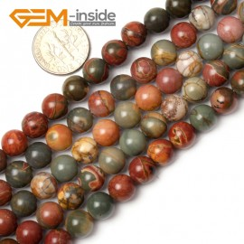 "G0826 8mm Natural Round Picasso Jasper Beads Jewelry Making Beads 15"" 4-16mm Pick  Size Natural Stone Beads for Jewelry Making Wholesale`"