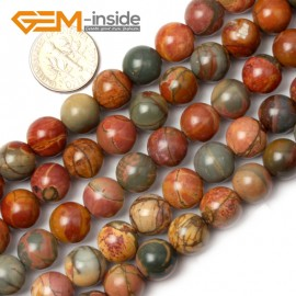 "G0827 10mm Natural Round Picasso Jasper Beads Jewelry Making Beads 15"" 4-16mm Pick  Size Natural Stone Beads for Jewelry Making Wholesale`"