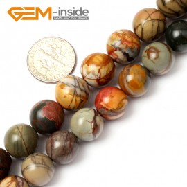 "G0828 12mm Natural Round Picasso Jasper Beads Jewelry Making Beads 15"" 4-16mm Pick  Size Natural Stone Beads for Jewelry Making Wholesale`"