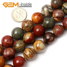 "G0829 14mm Natural Round Picasso Jasper Beads Jewelry Making Beads 15"" 4-16mm Pick  Size Natural Stone Beads for Jewelry Making Wholesale`"