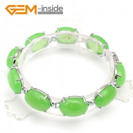 "G10005 12mmx16mm Green Jade tennis link bracelet 7"" tibetan silver body Fashion Jewelry Jewellery Bracelets  for women"