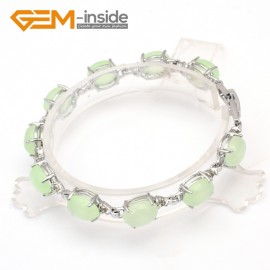 """G10009 8x10mmx7""""Light Green Beautiful Fashion Oval Bracelet with crystal ball for ladies  Fashion Jewelry Jewellery Bracelets  for women"""