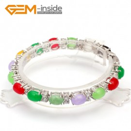 G10011 6x8mm Mixed color Beautiful Fashion Oval Bracelet with crystal ball for ladies  Fashion Jewelry Jewellery Bracelets  for women