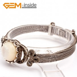 "G10026 White Shell New Arrivals Fashion Jewelery Tassel Marcasite Bracelet 20mmx7"" Free Shipping Fashion Jewelry Jewellery Bracelets  for women"