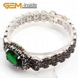 G10027 Semi Emerald Green New Arrivals Fashion Jewelery Marcasite Link Bracelet for Ladies Tibetan Sliver Fashion Jewelry Jewellery Bracelets  for women