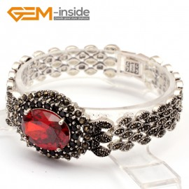 G10029 Ruby Red New Arrivals Fashion Jewelery Marcasite Link Bracelet for Ladies Tibetan Sliver Fashion Jewelry Jewellery Bracelets  for women